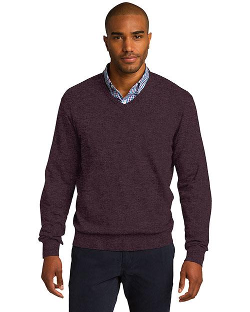 Port Authority SW285 Men Vneck Sweater Hthr Burgundy at bigntallapparel