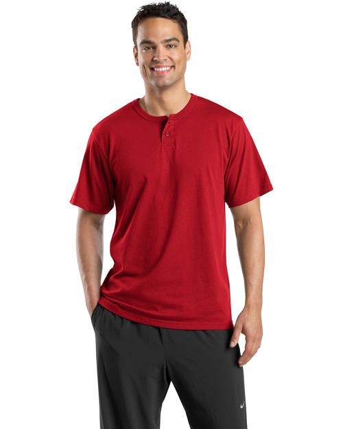 Sport-Tek T210 Men Short Sleeve Henley Red at bigntallapparel