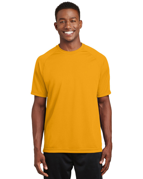 Sport-Tek T473 Men Raglan Sleeve T Shirt With Wicking And Antimicrobial Treatments Gold at bigntallapparel