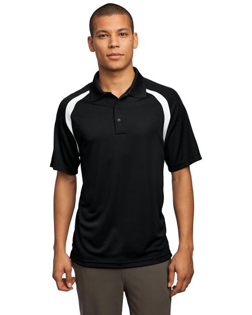 Sport-Tek T476 Men Dry Zone Colorblock Raglan Sport Shirt Black/White at bigntallapparel