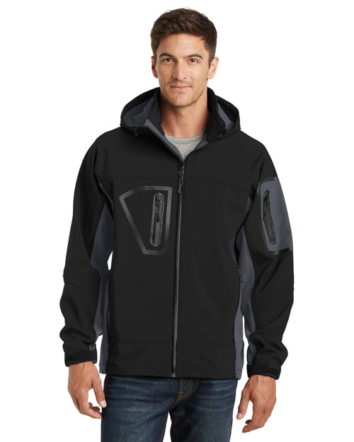 Port Authority TLJ798 Men Tall Waterproof Soft Shell Jacket Black/Graphite at bigntallapparel