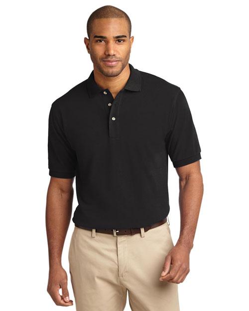 Port Authority TLK420 Men Tall Pique Knit Sport Shirt Black at bigntallapparel
