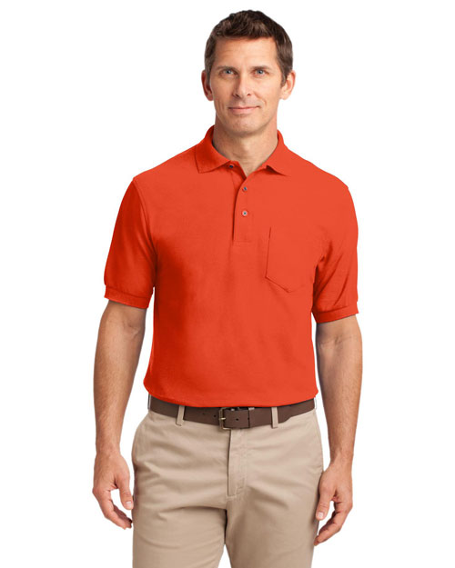 Port Authority TLK500P Men Tall Silk Touch? Polo With Pocket Orange at bigntallapparel
