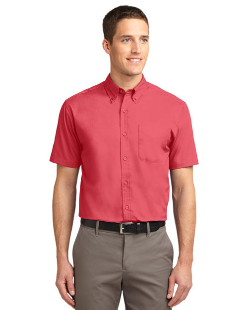 Port Authority TLS508 Men Tall Short Sleeve Easy Care Shirt Hibiscus at bigntallapparel