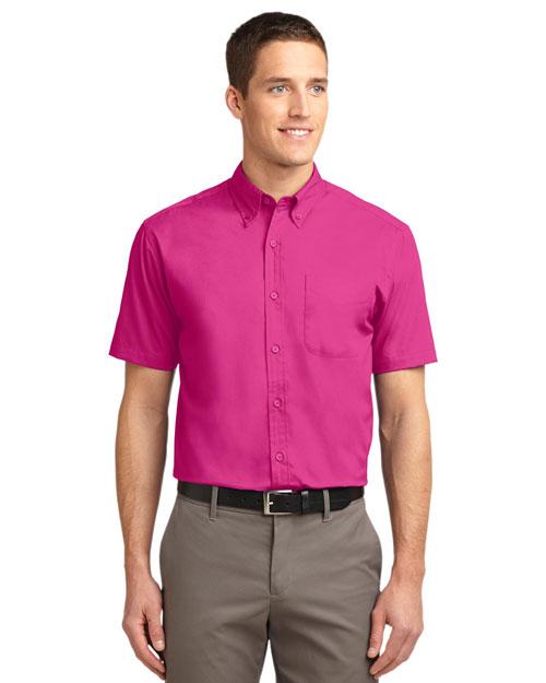 Port Authority TLS508 Men Tall Short Sleeve Easy Care Shirt Tropical Pink at bigntallapparel