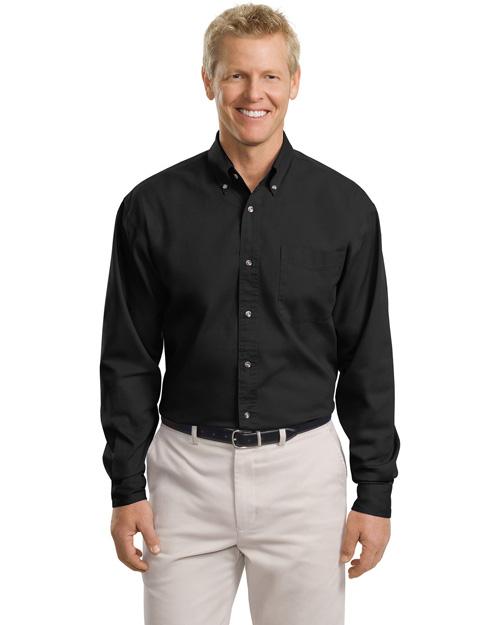 Port Authority TLS600T Men Tall Long Sleeve Twill Black at bigntallapparel