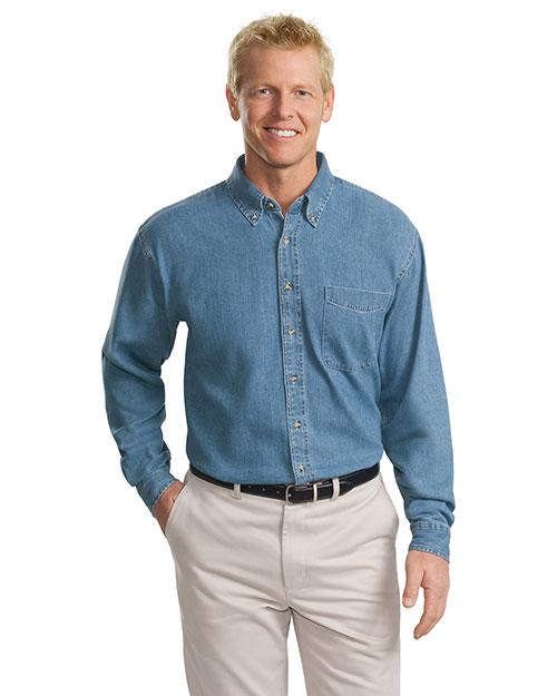 Port Authority TLS600 Men  Long Sleeve Denim Shirt Faded Blue at bigntallapparel