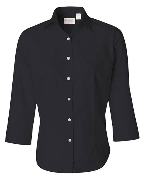 Van Heusen V0527 Women 3/4sleeve Dress Twill Black at bigntallapparel