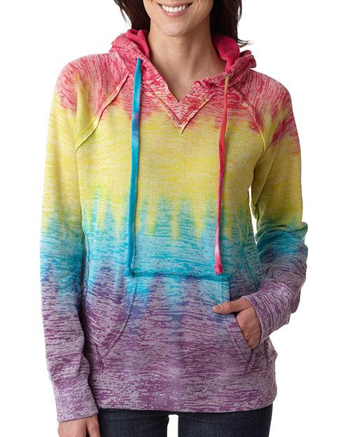 Weatherproof W1162 Women Courtney Burnout Hooded Pullover Blend Fleece Rainbow Stripe at bigntallapparel