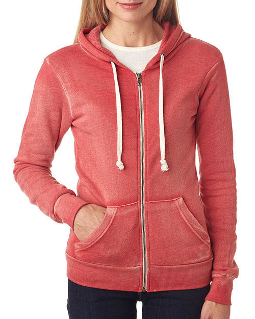 Weatherproof W2350 Women Blended Angel Sanded Hooded Fleece Red at bigntallapparel
