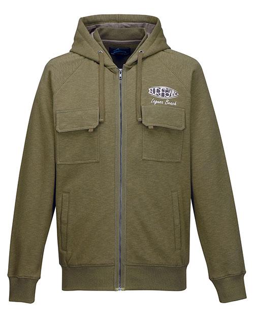 Tri-Mountain F688 Men 60% Cotton/40% Polyester Full Zip Knit Hooded Jacket Army Green at bigntallapparel