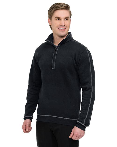 Tri-Mountain F692 Men 60% Cotton/40% Polyester 1/4 Zip Pullover With On Seam Pockets, Rib Cuff & Bottom Black/Gray at bigntallapparel