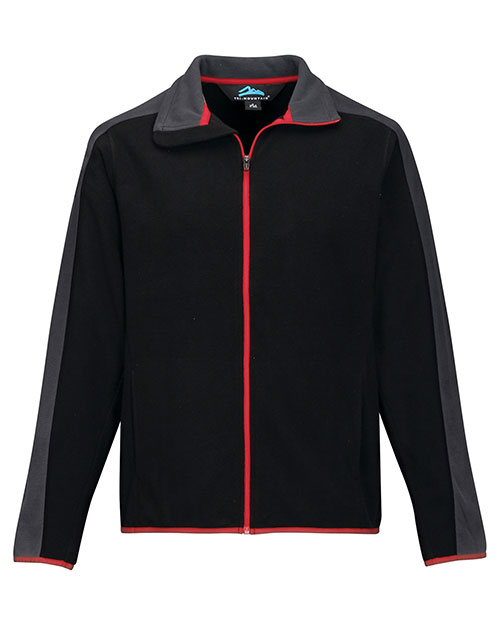 Tri-Mountain F7381 Men 100% Polyester Anti-Pilling Micro Fleece (Double Brushed) Black/Charcoal/Red at bigntallapparel