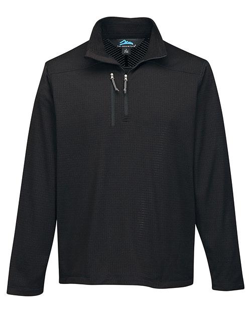 Tri-Mountain F7636 Men 100% Polyester 1/4 Pullover Reverse Plaid Fleece Black at bigntallapparel