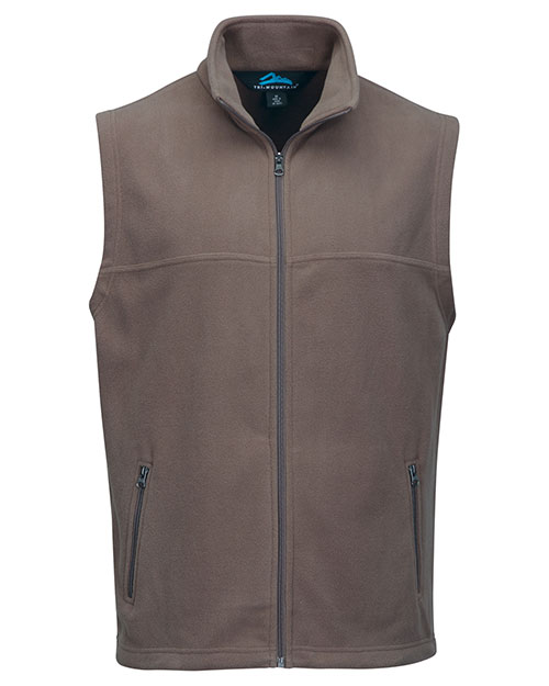 Tri-Mountain F8358 Men Polar Fleece Vest W/ Slash Zipper Pockets British Tan at bigntallapparel