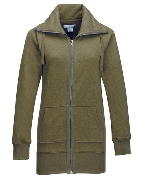 Tri-Mountain FL688 Women 60% Cotton/40% Polyester Full Zip Knit Jacket Army Green at bigntallapparel