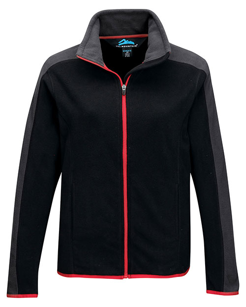 Tri-Mountain FL7381 Women 100% Polyester Anti-Pilling Micro Fleece (Double Brushed) Black/Charcoal/Red at bigntallapparel