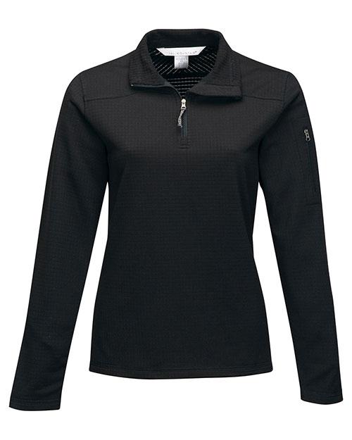 Tri-Mountain FL7636 Women 100% Polyester 1/4 Pullover Solid Reverse Plaid Fleece Black at bigntallapparel
