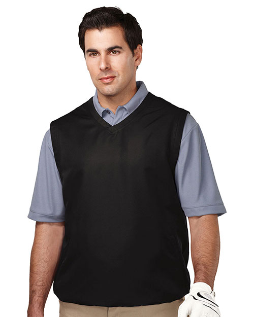 Tri-Mountain J2612 Men 100% Polyester Micro W/R V-Neck Vest With 2 Zip Slash Pockets & Elastic Bottom Black at bigntallapparel