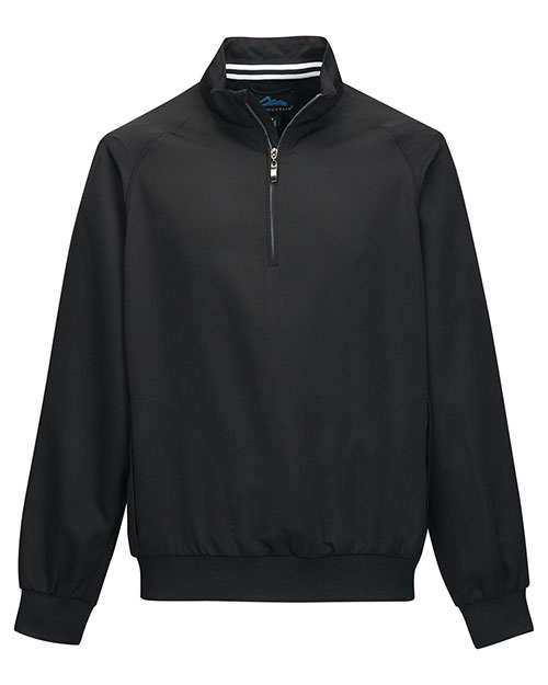 Tri-Mountain J2660 Men 100% Micro Polyester 1/4 Zip Raglan Sleeve Pullover Black/Gray at bigntallapparel