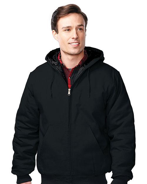 Tri-Mountain J4550 Men Cotton Canvas Hooded Jacket Black at bigntallapparel