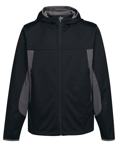Tri-Mountain J6158 Men 100% Polyester Hoody Jacket With Contrast Side Panel And Zipper Pocket Black/Charcoal at bigntallapparel