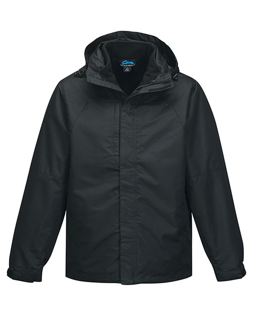 Tri-Mountain J8750 Men 2 In I 100% Polyester W/R Jacket, Inside Poly Fleece Jacket Black/Black at bigntallapparel