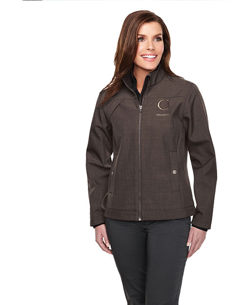 Tri-Mountain JL6468 Women Bonded Zip Jacket W/Tmp Smoky  Pull, Two Pocket With Snap Closure Brown at bigntallapparel