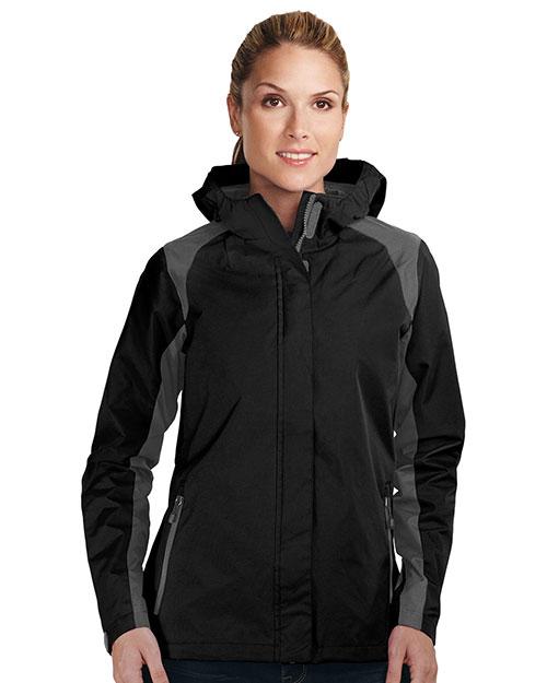 Tri-Mountain JL9200 Women 100% Nylon Water Resistant Jacket W/Hood Black/Charcoal at bigntallapparel