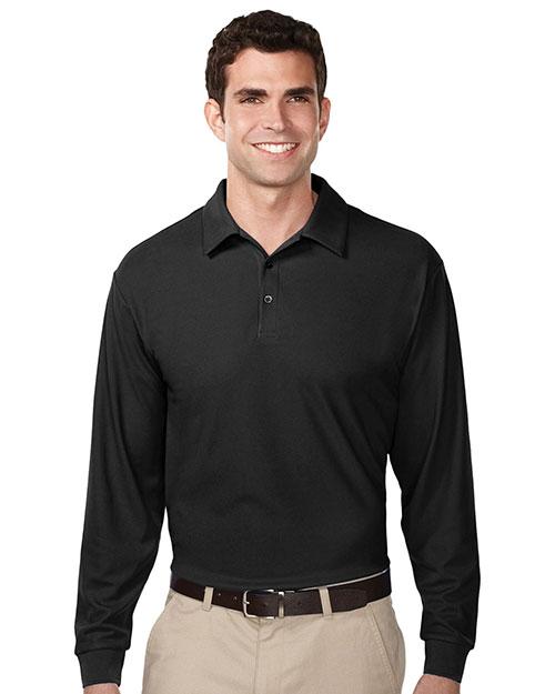 Tri-Mountain K107LS Men 100% Polyester Uc Long Sleeve Golf Shirt Black at bigntallapparel