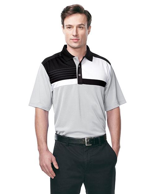 Tri-Mountain K109 Men 100% Polyester Knit S/S Golf Shirt Gray/Black/White/Black at bigntallapparel