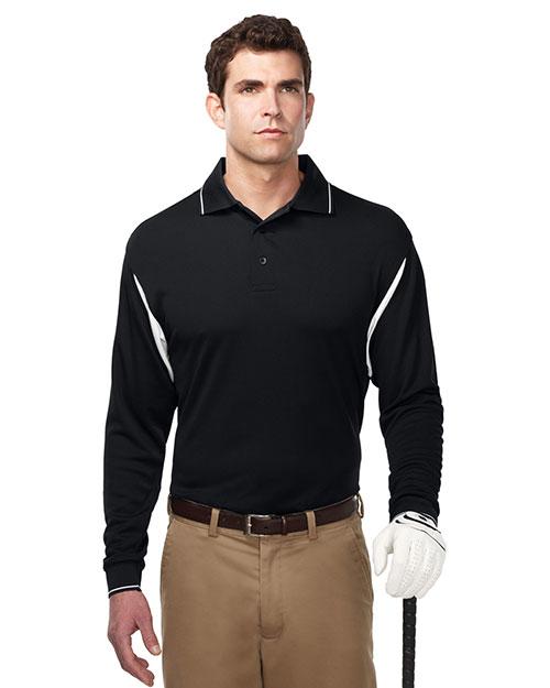 Tri-Mountain K118LS Men 100% Polyester Waffle Knit Black/White at bigntallapparel