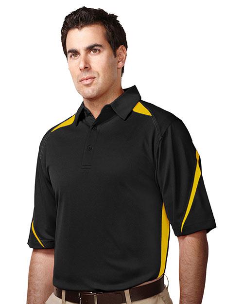 Tri-Mountain K119 Men 100% Polyester Birdeye Polo Black/Gold at bigntallapparel