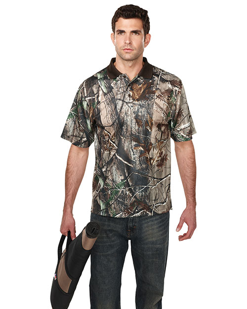 Tri-Mountain K122CG Men Polyster Real Tree Print Short Sleeve Shirt Real Tree Ap at bigntallapparel