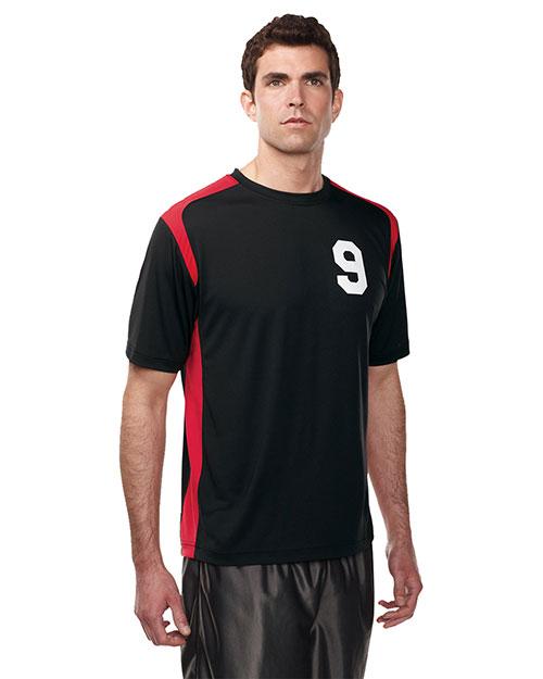 Tri-Mountain K145CN Men 100% Polyester Crew Neck Knit Shirt W/Contrast Piecing Black/Red at bigntallapparel