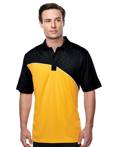 Tri-Mountain K147 Men S/S Golf Shirt Gold/Black/White at bigntallapparel