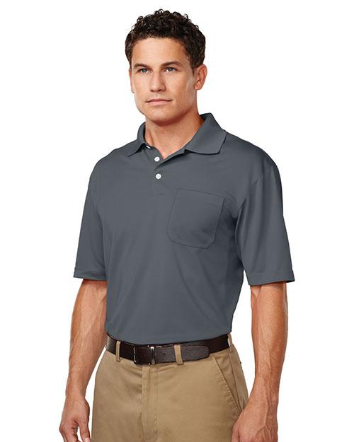 Tri-Mountain K158P Men 100% Polyester S/S Pique Polo Gray at bigntallapparel