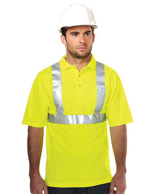 Tri-Mountain K222G Men 100% Polyester Birdeye 3 Button Polo Lime Green at bigntallapparel