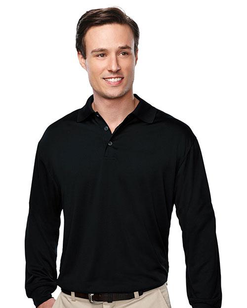 Tri-Mountain K224LS Men Long Sleeve Golf Shirt Black at bigntallapparel