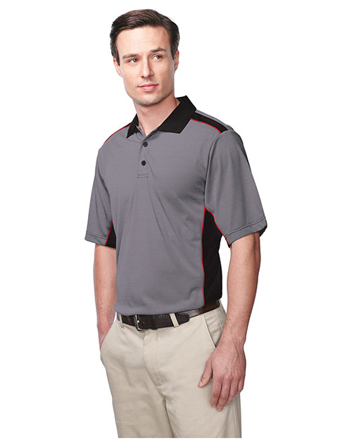 Tri-Mountain K340 Men 100% Polyester Knit S/S Golf Shirt Black/Red at bigntallapparel