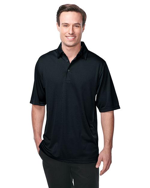 Tri-Mountain K411 Men 100% Polyester Knit S/S Golf Shirt Black at bigntallapparel