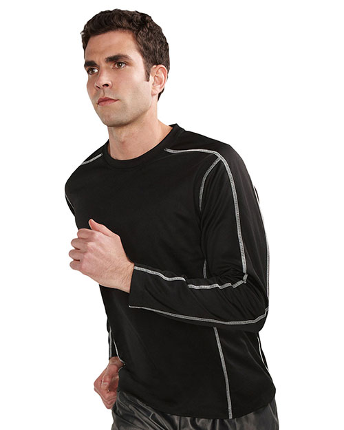 Tri-Mountain K606 Men 100% Polyester Long Sleeve Crew Neck Shirt With Contrast Stitch Accents And Media Pocket Black at bigntallapparel
