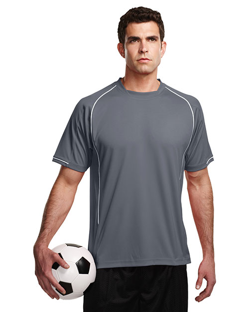 Tri-Mountain K623SS Men 100% Polyester Knit Short Sleeve Shirt Gray/White at bigntallapparel