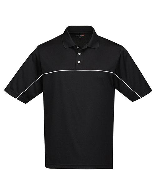 Tri-Mountain K908 Men 100%  Polyester Color Blocking Polo Shirt Black/Black at bigntallapparel