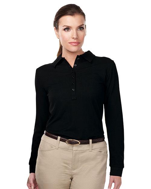 Tri-Mountain KL103LS Women 100% Polyester Knit Long Sleeve Golf Shirt Black at bigntallapparel