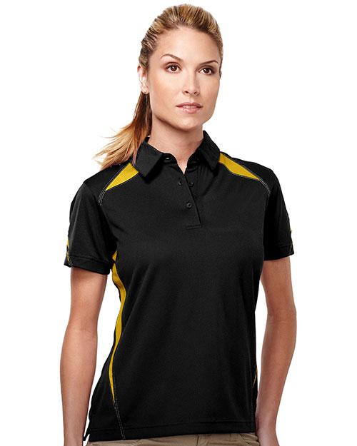 Tri-Mountain KL119 Women 100% Polyester Birdeye W/Uc 3 Buttom Polo Black/Gold at bigntallapparel