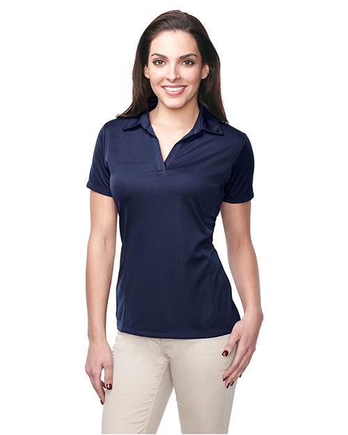 Tri-Mountain KL411 Women 100% Polyester Knit S/S Golf Shirt Navy at bigntallapparel
