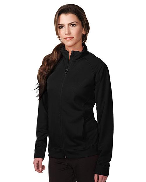 Tri-Mountain KL630 Women 100% Polyester Knit Full Zip Jacket Black at bigntallapparel