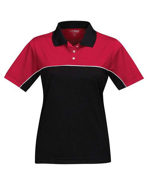 Tri-Mountain KL908 Women 100% Polyester Color Blocking Polo Shirt Red/Black at bigntallapparel