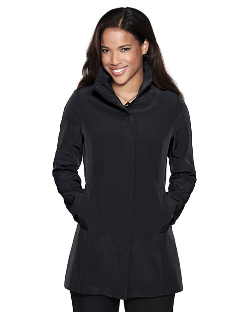 Tri-Mountain LB2988 Women 100% Polyester Woven Water Resistent Trench Coat Lined With Black at bigntallapparel